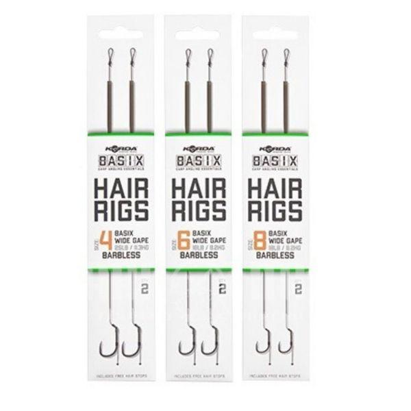 Korda Basix Hair Rigs Wide Gape Barbless