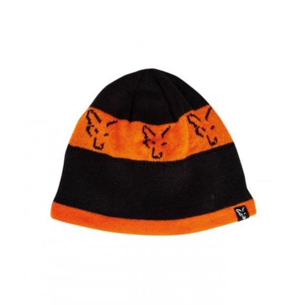 Fox Beanie Black Orange